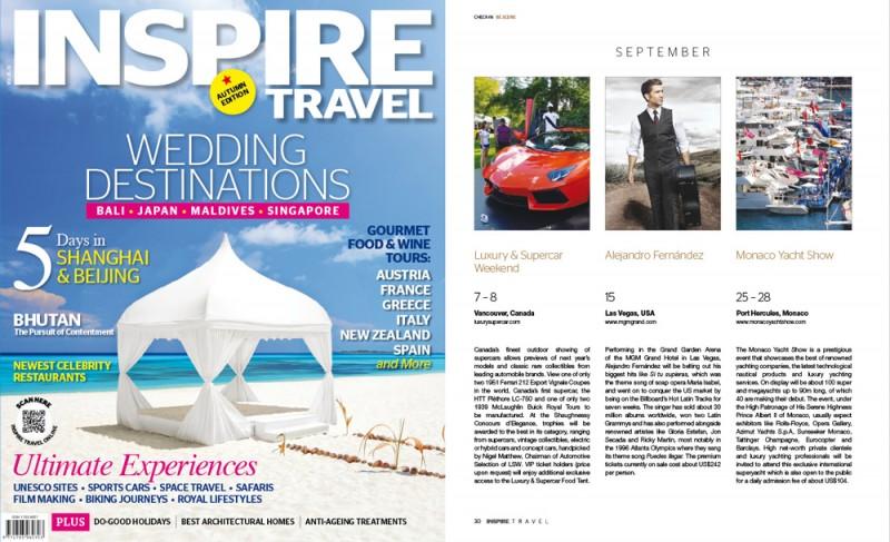 Inspire magazine Singapore Travel Luxury & Supercar Weekend Vancouver Design Branding Media Relations Think x Blink Communications PR